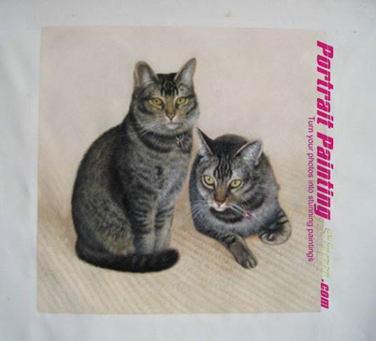 Two cats painting from photo