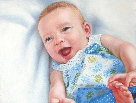 Child portrait painting from photo