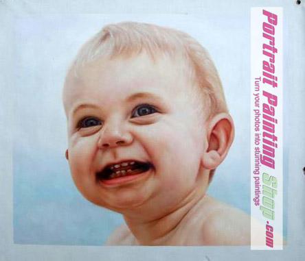 custom baby oil painting