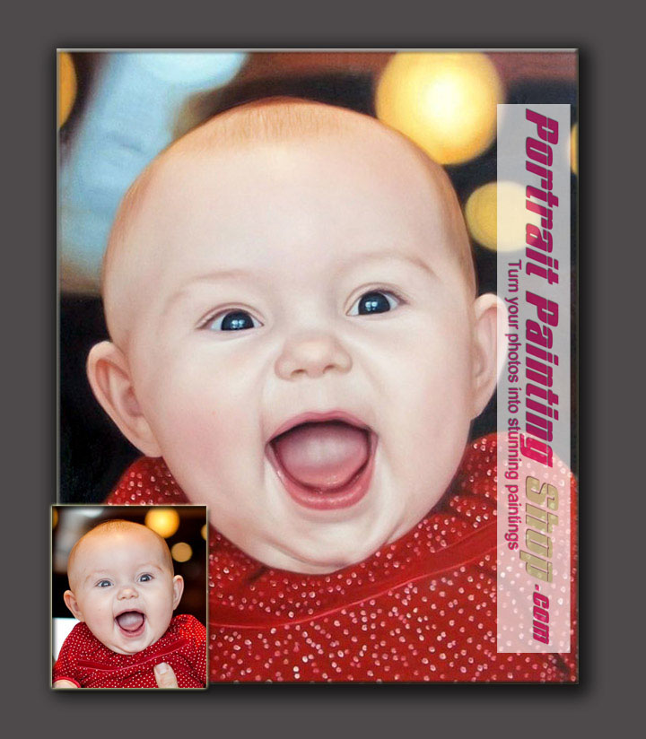 turn the happy childhood photo into child portrait painting making is as an eternal present for your lovely children