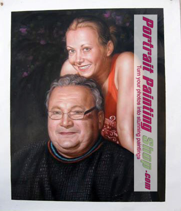 Custom Oil Paintings-father and daughter photo into oil painting portrait