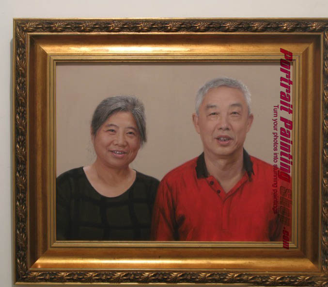 Custom Oil Paintings-Husband and wife photo into portrait painting