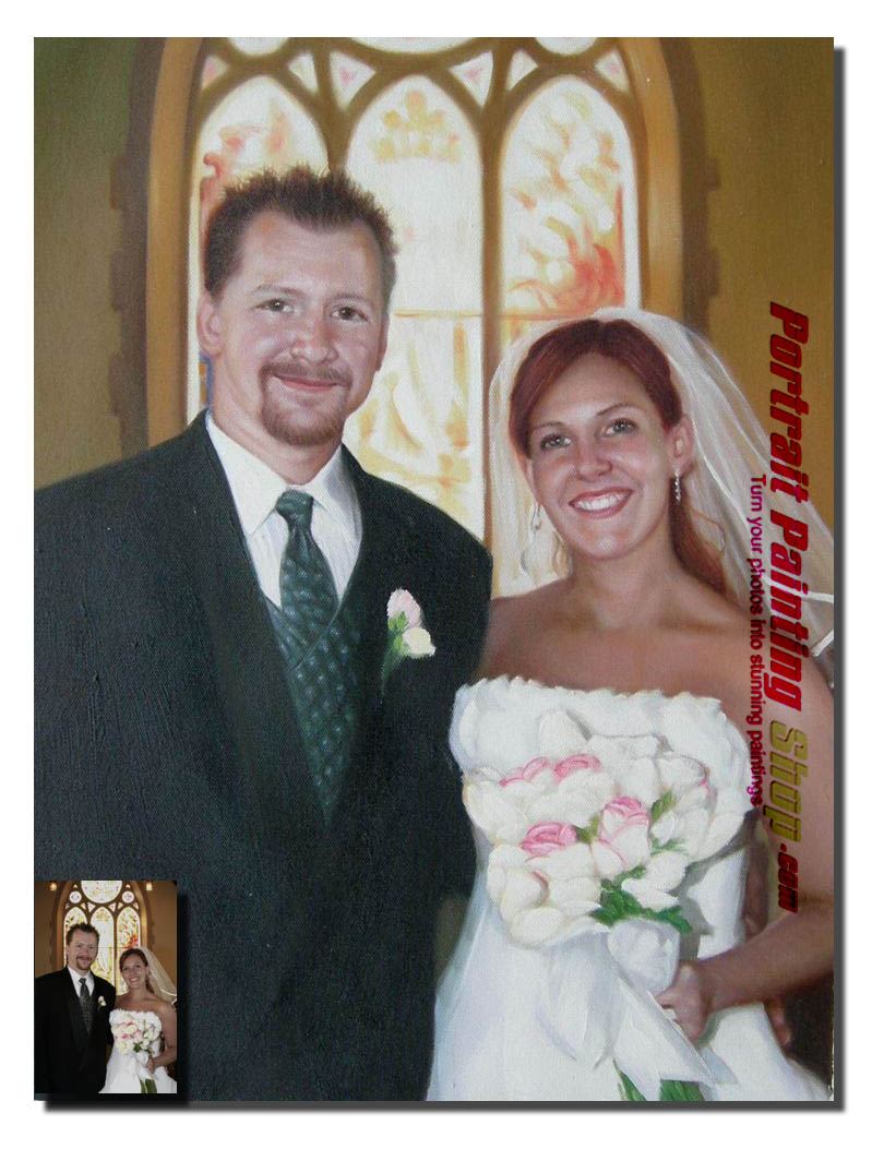 Custom Oil Paintings-wedding portrait painting
