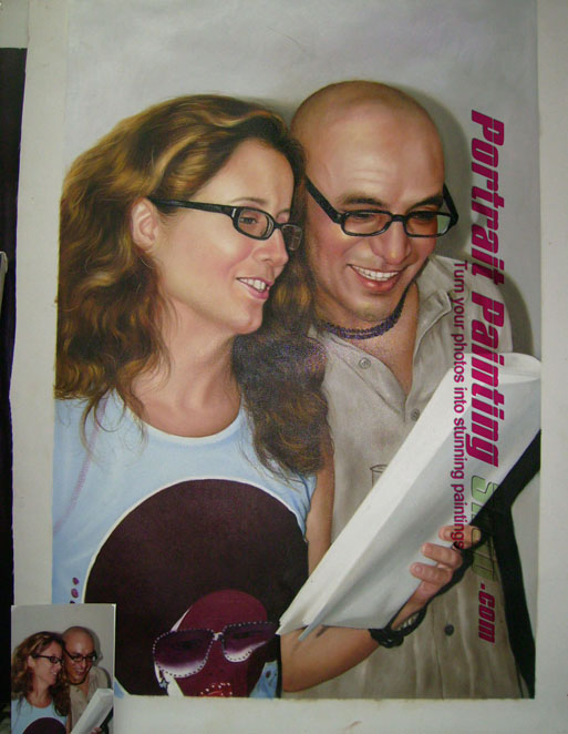 Custom Oil Paintings-Husband and wife reading book photo into portrait painting