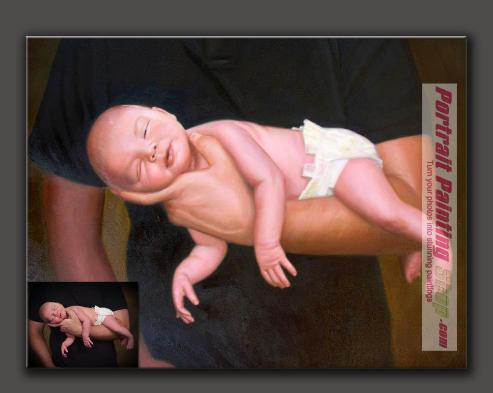 Custom Portrait Painting of New-born baby and his Daddy