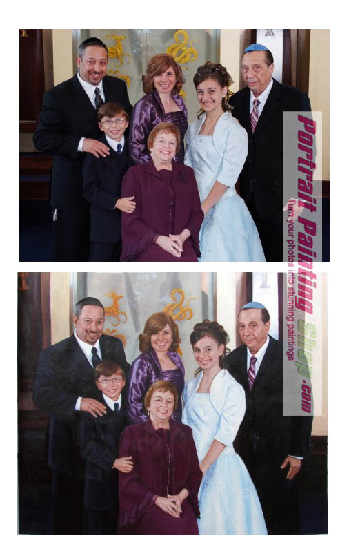 Custom oil painting: Combine many pictures into one family portrait painting