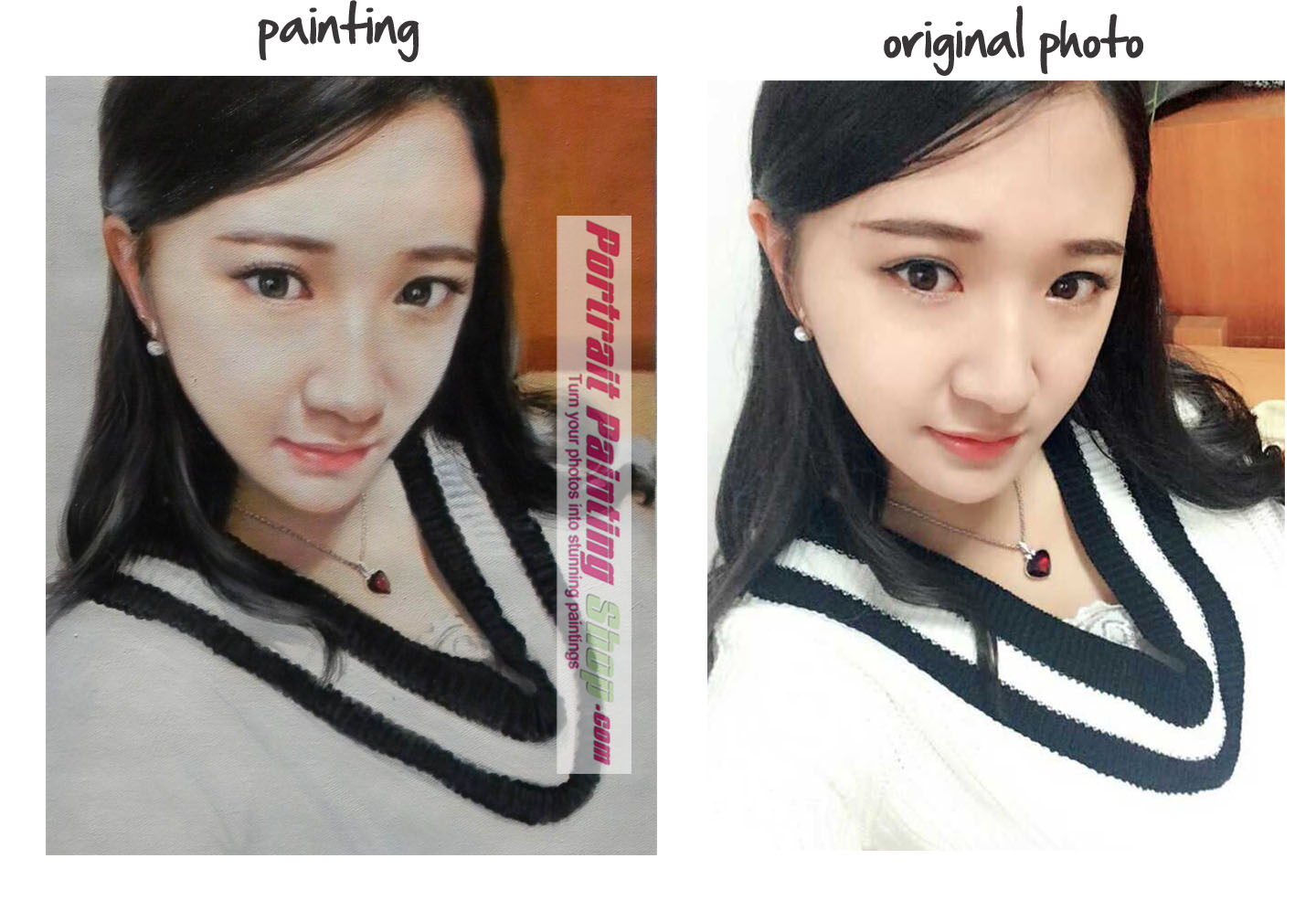 Comparison of original photo and portrait painting