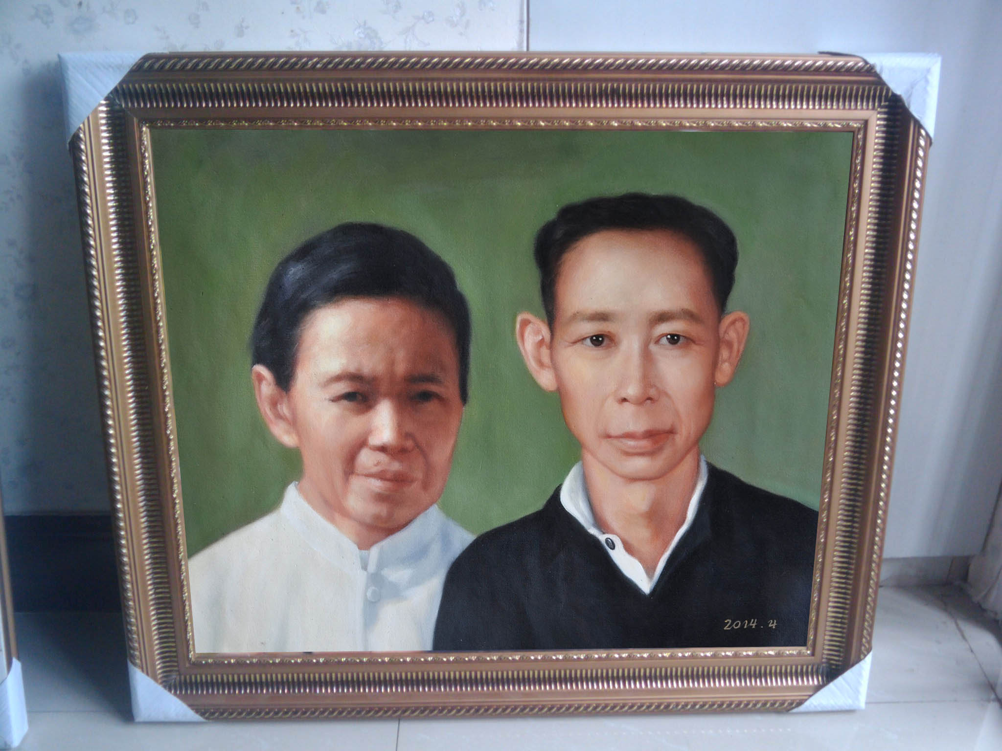 Portrait Painting from Old photograph with frame 3